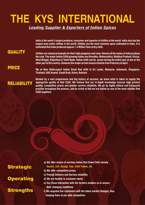 The Kys International | Indian Red Dry Chilli Manufacturers | Indian